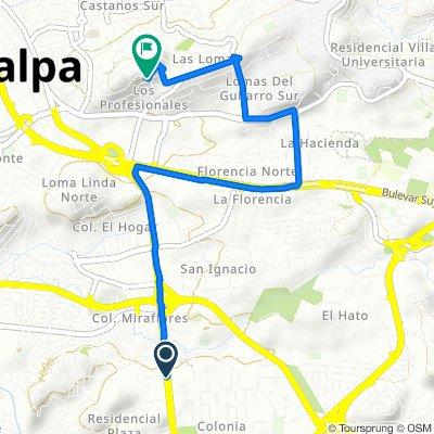 Via BTR, Tegucigalpa to Calle Santa Bárbara, Tegucigalpa