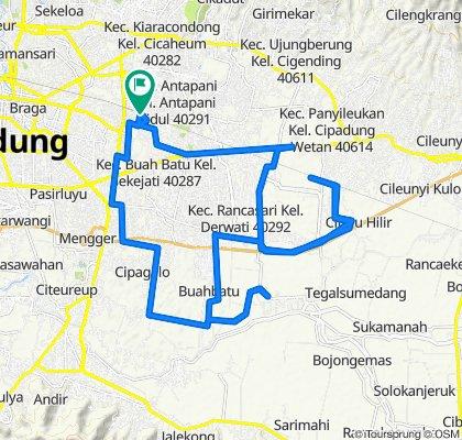 Jalan Salak 3, Kecamatan Kiaracondong to Jalan Sukapura No 2, Kecamatan Kiaracondong