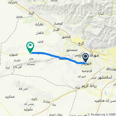 Route from عباسی, شهریار
