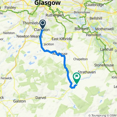 Route from 41 Stamperland Gardens, Glasgow