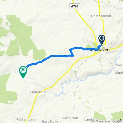 Route from 65 Commercial Road, Strathaven