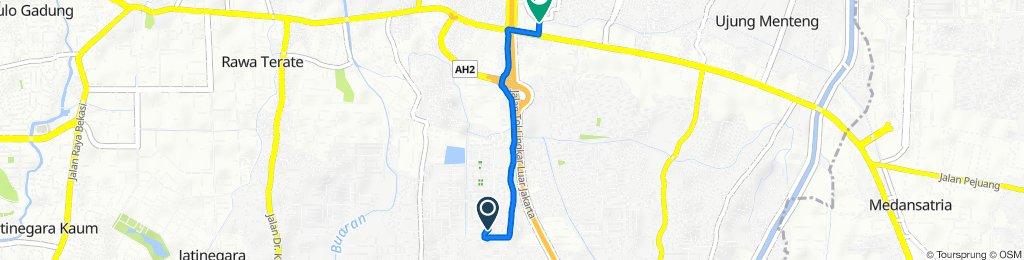 Jalan Ulin Elok 9, Kecamatan Cakung to Inspeksi Kayu Tinggi, Kecamatan Cakung