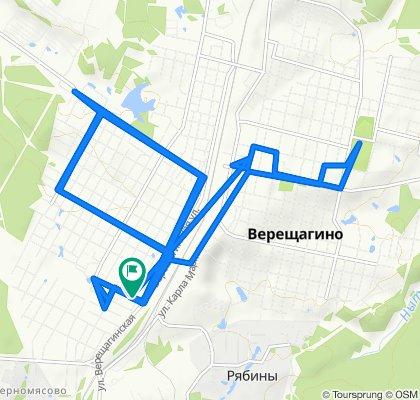 От улица Лермонтова, Верещагино до улица Лермонтова, Верещагино