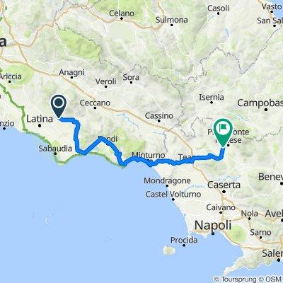 05 Sezze-Abbazia di Fossanova+06Abbazia a Terracina+7 a Fondi +08  a Formia+09 a Minturno +10 a Sessa Aurunca + 11 - a Teano +12 - a Roccaromana+13 a Alife