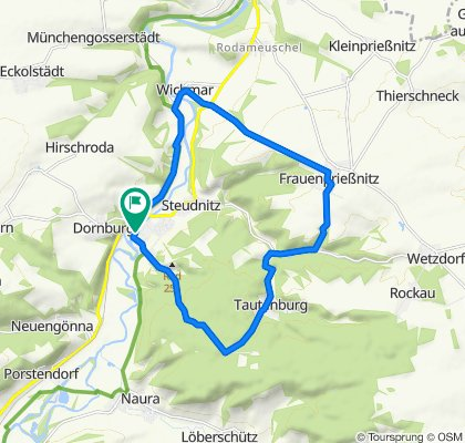 Markt 4, Dornburg-Camburg über Wichmar, Frauenprießnitz nach Markt 4, Dornburg-Camburg