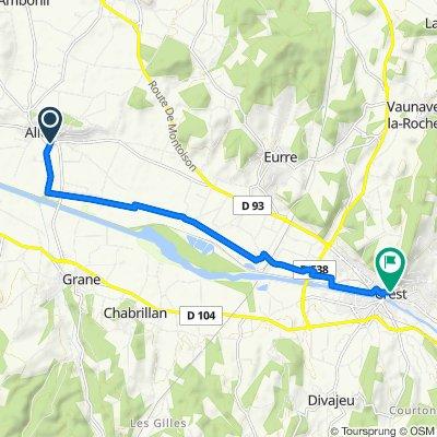 Route de Crest, Allex nach 21 Place du Docteur Maurice Rozier, Crest