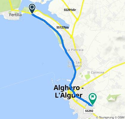 Da SS127bis, Alghero a Via Mauro Manca 28/A, Alghero
