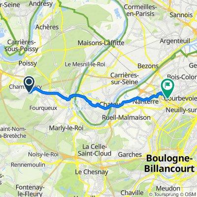 De Chemin des Alluets, Chambourcy à 16 Escalier de la Renaissance, Courbevoie