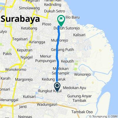 Jalan Dokter Ir. Haji Soekarno 48, Kecamatan Rungkut to Jalan Kalijudan X 39, Kecamatan Mulyorejo