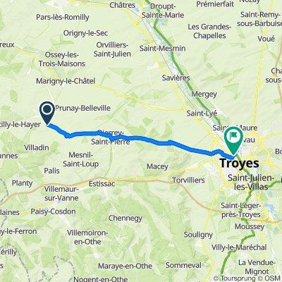 De D23, Saint-Lupien à 1 Rue Blanchard, Troyes
