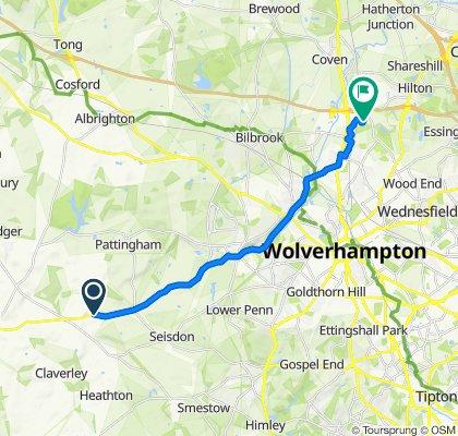 Bridgnorth Road, Shipley, Pattingham, Wolverhampton to 29 Blackbrook Way, Wolverhampton