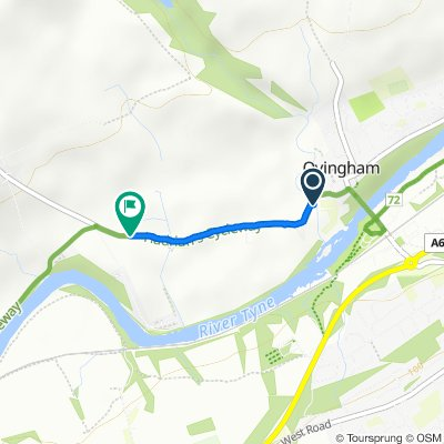 Route from Greenhaugh, West Road, Prudhoe