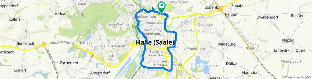Gaußstraße 13, Halle (Saale) nach Gaußstraße 14, Halle (Saale)