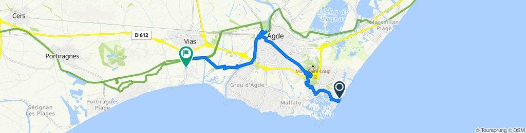 De 14 Passage du Soleil Levant, Agde à Avenue de la Méditerranée, Vias