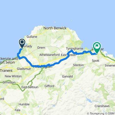 A198, Longniddry to 10 John Muir Gardens, Dunbar