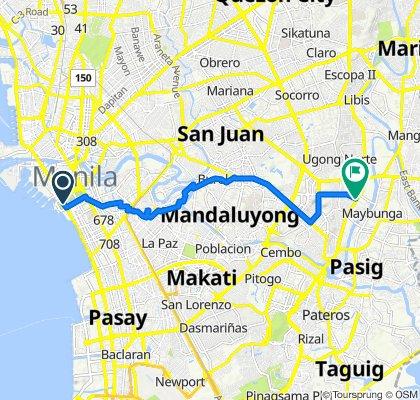 Roxas Boulevard 1225, Manila to Kaimito 1423, Pasig