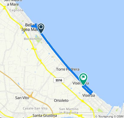 Da Viale Alfonso Pinzon 146, Bellaria Igea Marina a Viale Porto Palos 40, Rimini