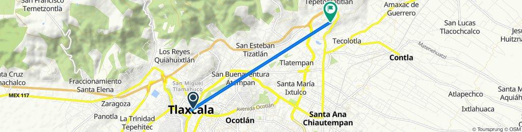 De Plaza de la Constitución 3, Tlaxcala de Xicohténcatl a Hidalgo Sur 20, Belén Atzitzimititlán