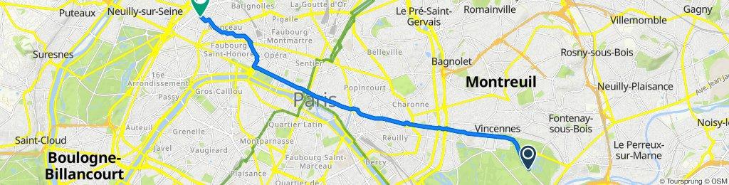 De Avenue du Tremblay, Paris à 42–46 Rue Rennequin, Paris