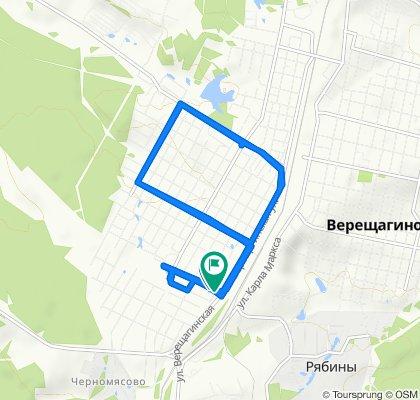 От улица Лермонтова, Верещагино до Дорожная улица, Верещагино