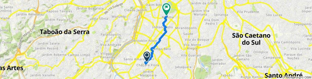 Rua Visconde de Porto Seguro, 916, São Paulo nach Avenida República do Líbano, 1666–1670, São Paulo