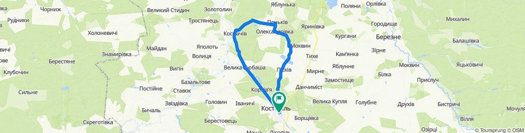 От Грушевского улица, Костополь до Грушевского улица, Костополь