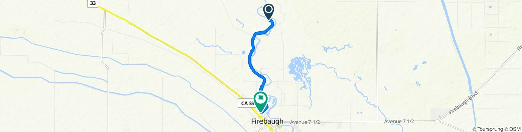Route to 600 P St, Firebaugh