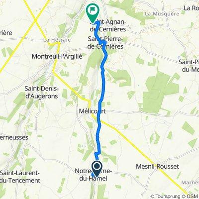 De 294 Route de Mesnil Rousset, Notre-Dame-du-Hamel à 930 Route de la Planche du Gué, Saint-Agnan-de-Cernières