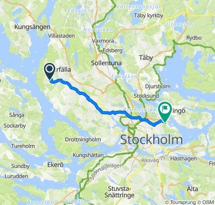 Tröskvägen 77, Järfälla to Tegeluddsvägen 29, Stockholm
