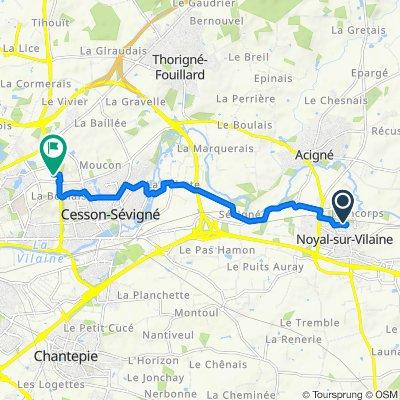 De 21 Rue Antonio Vivaldi, Noyal-sur-Vilaine à 9 Rue du Chêne Germain, Cesson-Sévigné