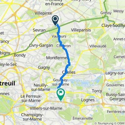 De 8 Avenue Édouard Branly, Villepinte à 21 Boulevard de Champy-Richardets, Noisy-le-Grand