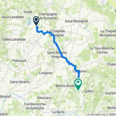 1025 Monsalut, Vendoire naar 141B Le Cluzeau, Celles