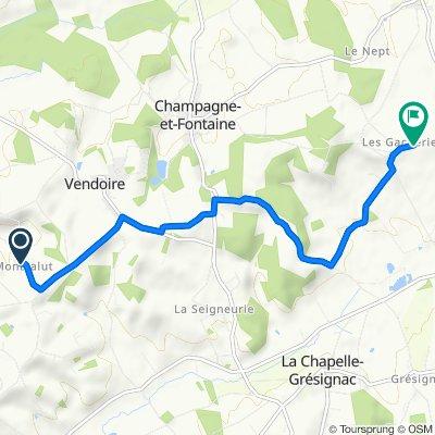 1025 Monsalut, Vendoire naar 115 Les Gacheries, Champagne-et-Fontaine