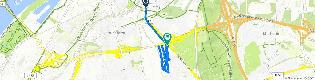 Frankfurter Straße 106, Köln nach Gothaer Platz 6–8, Köln