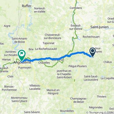 12 Route des Clédiers des Champs, Cussac nach Chemin Roger Trillaud, Angoulême