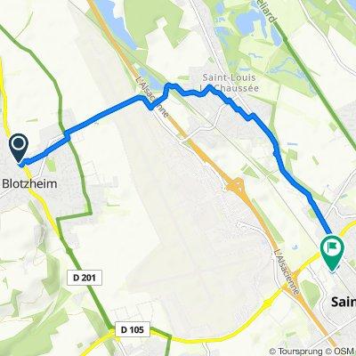 Itinéraire à partir de 2–2A Rue du Ruisseau, Blotzheim
