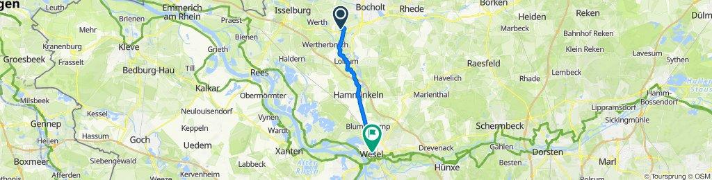 Harderhook 14, Bocholt nach Demmerstraße 12, Wesel