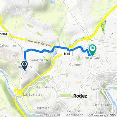 De Avenue de Saint-Pierre, Rodez à 21 Rue du Colonel Flament, Rodez