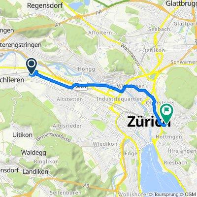 Wagistrasse 25.1, Schlieren nach Moussonstrasse, Zürich