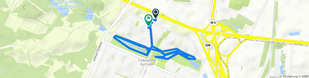 От Старобитцевская улица, 20, Москва до Старобитцевская улица, 21Ас1, Москва