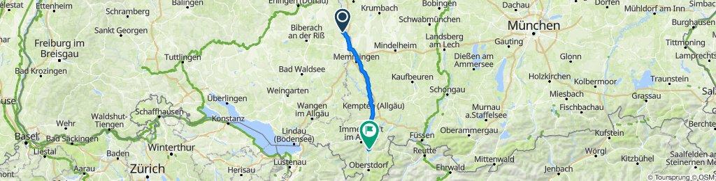 Mozartstraße 5, Kirchberg an der Iller nach Mühlenweg 12, Sonthofen