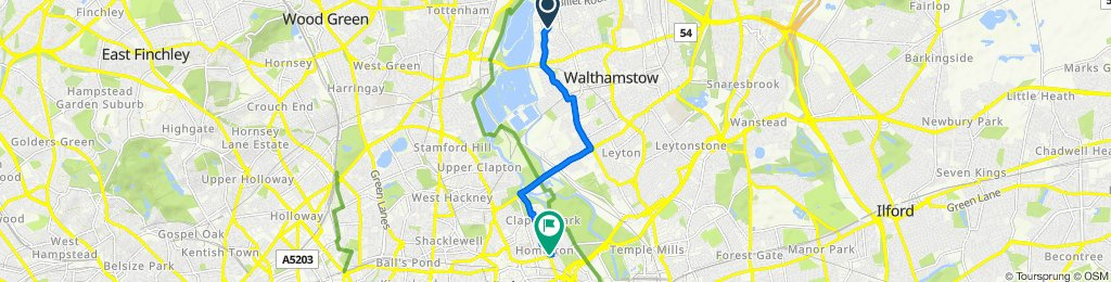 41 Goldsmith Road, London to 205 Homerton High Street, London