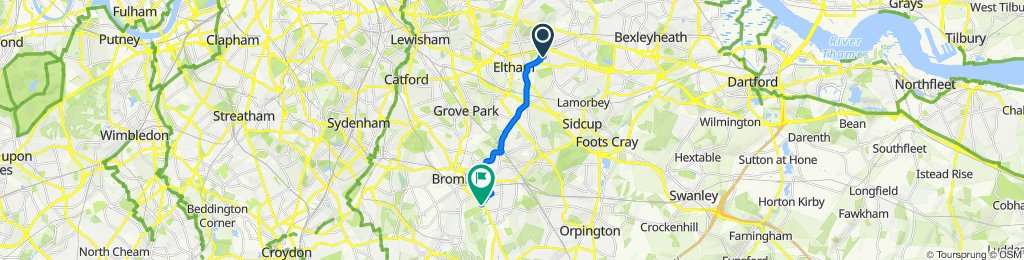 Route to 10–22 Chantry Lane, Bromley