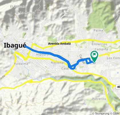 De Carrera 1B 70-100–70-2, Ibagué a Carrera 1B 70-43, Ibagué