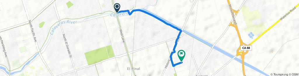 Calaveras River Bike Ph, Stockton to 2519 Belvedere Ave, Stockton