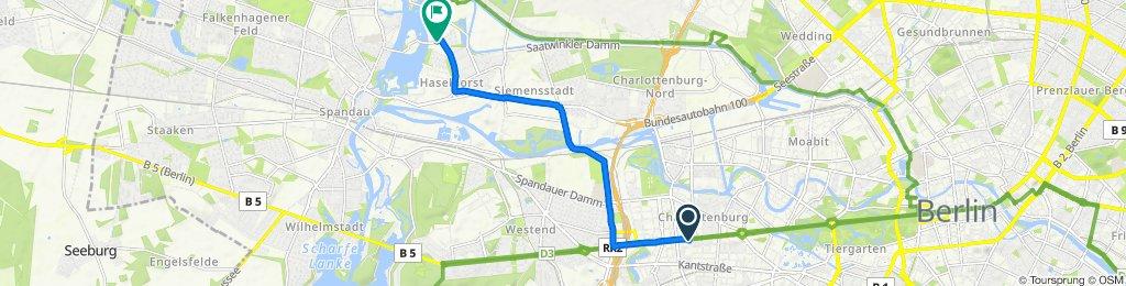 Bismarckstraße, Berlin nach Kleine Eiswerderstraße 1, Berlin