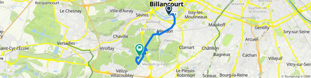 De 36 Rue Traversière, Boulogne-Billancourt à Route du Cordon du Haut, Meudon