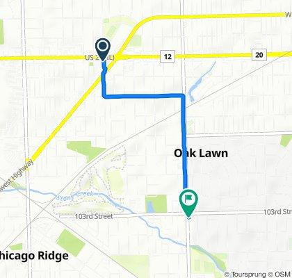 9500 Southwest Hwy, Oak Lawn to 10301 S Central Ave, Oak Lawn