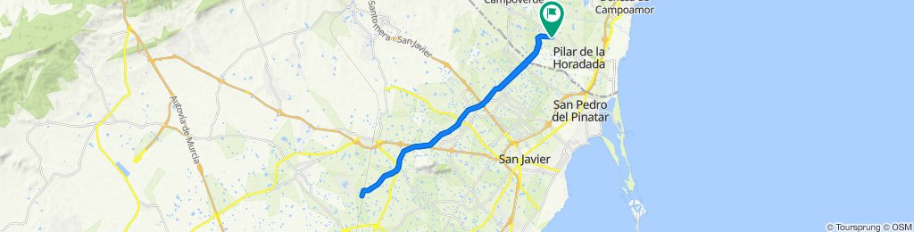 From Pilar de Horadada to Torre Pacheco and back by the water canal.