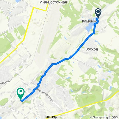 От улица Калинина 14, Каменка до улица Королёва 40 к 34, Новосибирск